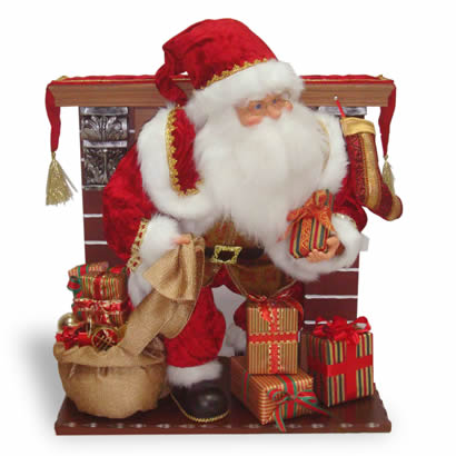 28 In. Fireplace with Animated Santa Christmas Decoration