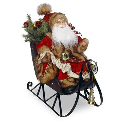 18 In. Santa Claus on Sleigh Christmas Decoration