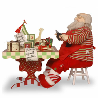 24 In. Santa with Tool Bench and Toys Christmas Decoration