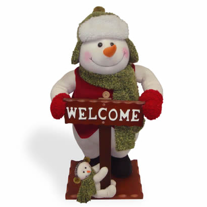 26 In. Snowman with Welcome Sign Christmas Decoration
