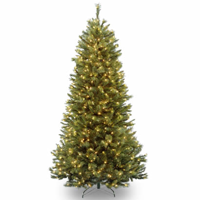 7 Ft. Rocky Ridge Slim Pine Christmas Tree with 550 Clear Lights