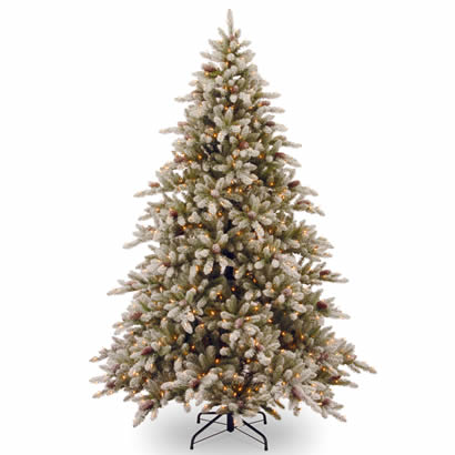 7 1/2 Ft. Snowy Concolor Fir Christmas Tree w/ Cones & 800 Clr Lights