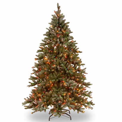 9 Ft. Snowy Concolor Fir Christmas Tree w/ 950 Ready-Lit Multi Lights