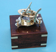 Small Brass Sundial/Magnetic Compass w/ Hardwood Case