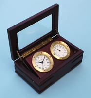 Solid Brass Boxed Quartz Clock & Thermometer