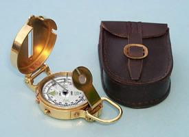 Solid Brass Military Lensatic Compass w/ Leather Case