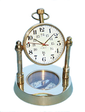 Brass Spherical Desk Clock w/ Magnetic Compass