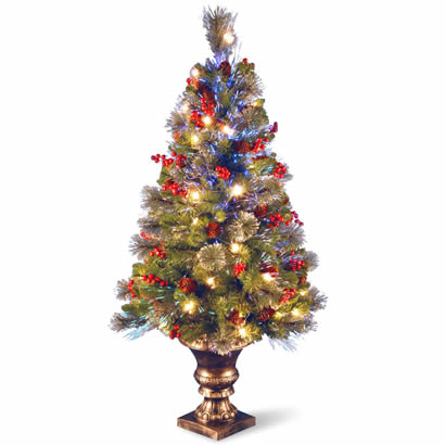 4 Ft. Fiber Optic Crestwood Spruce Christmas Tree w/ in Gold Pot