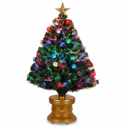 36 In. Fiber Optic Fireworks Ornament Christmas Tree w/ Top Star