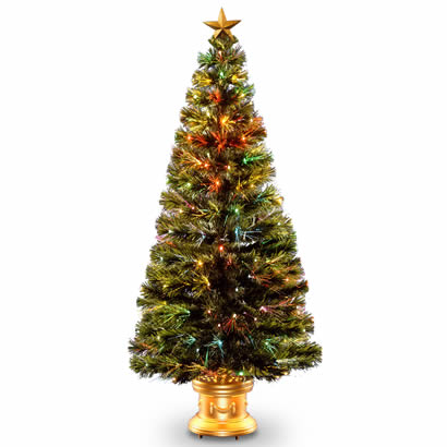 60 In. Fiber Optic Radiance Fireworks Christmas Tree with Gold Base