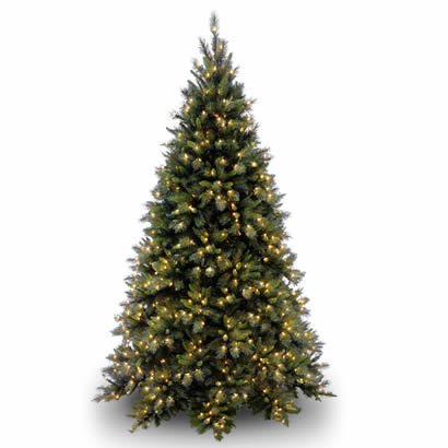 9 Ft. Tiffany Fir Medium Hinged Christmas Tree with 850 Clear Lights