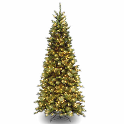 Tall Slim Christmas Tree.7 1 2 Ft Tiffany Slim Fir Hinged Christmas Tree W 550 Clear Lights