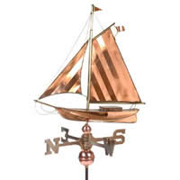 Large Polished Copper Sloop Weathervane