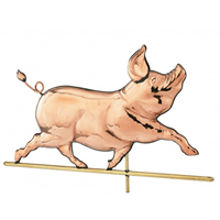 Polished Copper Whimsical Pig Weathervane