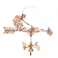 Polished Copper Fisherman Weathervane