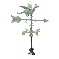 Antique Copper Dragon Cottage Size Weathervane