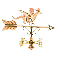 Polished Copper Dragon Cottage Size Weathervane