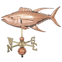 Polished Copper Yellow Fin Tuna Weathervane