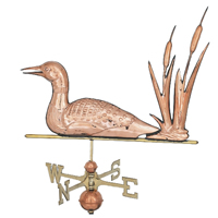 Polished Copper Loon w/ Cattails Weathervane