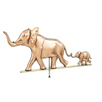 Polished Copper 3-D Elephant w/ Baby Weathervane
