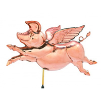 Polished Copper Flying Pig Weathervane