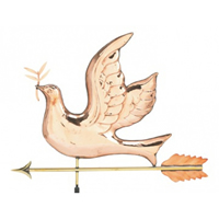 Polished Copper Peace Dove Weathervane