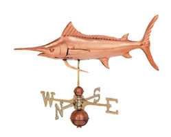 Polished Copper Swordfish Weathervane