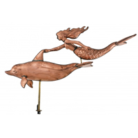 Extra Large Polished Copper 3-D Mermaid w/ Dolphin Weathervane