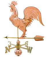 Polished Copper Large Crowing Rooster Weathervane
