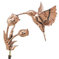 Polished Copper Hummingbird Weathervane