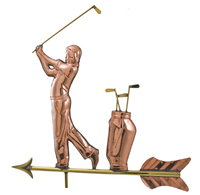 Polished Copper Golfer Weathervane