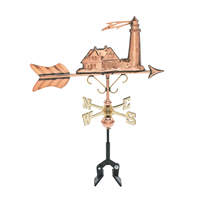 Polished Copper Lighthouse Cottage Size Weathervane