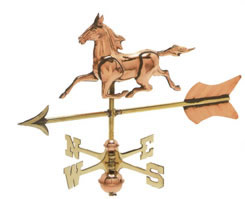 Polished Copper 3-D Horse w/ Arrow Cottage Size Weathervane