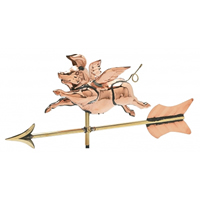 Polished Copper 3-D Flying Pig Cottage Size Weathervane
