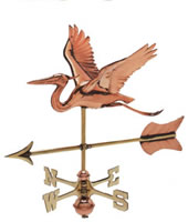 Polished Copper 3-D Heron w/ Arrow Cottage Size Weathervane