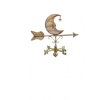 Polished Copper Moon & Star Cottage Size Weathervane