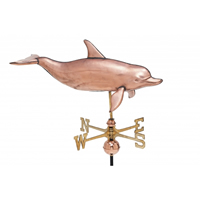 Polished Copper 3-D Dolphin Cottage Size Weathervane