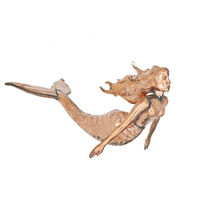 Polished Copper 3-D Hanging Mermaid