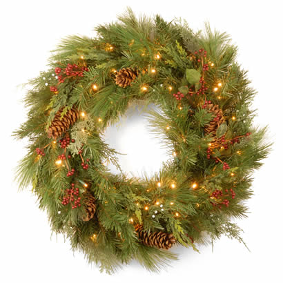 30 In. White Pine Christmas Wreath w/ Cones & 100 Soft White LEDs
