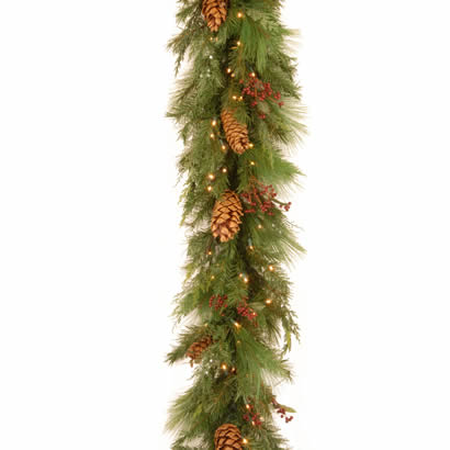 6 Ft. White Pine Christmas Garland with Cones and 100 Soft White LEDs