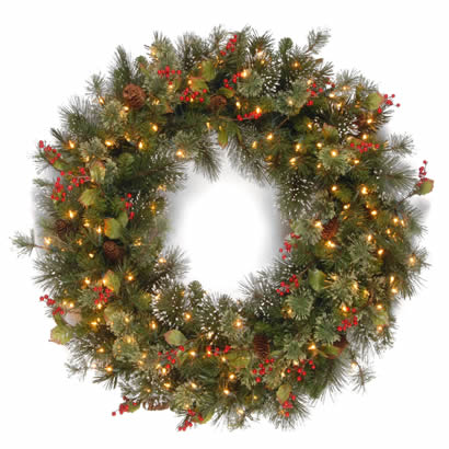 42 In. Wintry Pine Christmas Wreath with 200 Clear Lights