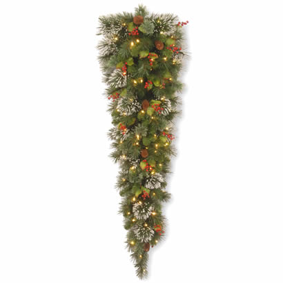 5 Ft. Wintry Pine Christmas Tear Drop Swag with Cones and 150 Lights