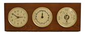 Brass Quartz Clock, Tide Clock & Barometer/Thermometer on Oak
