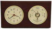 Brass Quartz Clock & Barometer/Thermometer on Mahogany
