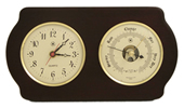Brass Quartz Clock & Precision Barometer on Ash