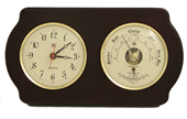Brass Quartz Clock & Barometer/Thermometer on Ash