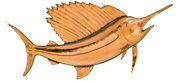Polished Copper Hanging Sailfish