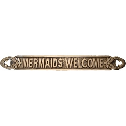Brass Mermaids Welcome Plaque