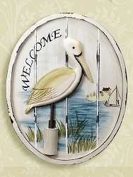 Wooden Pelican Welcome Plaque