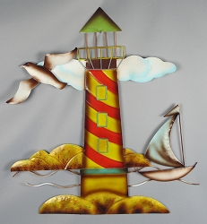 Metal Lighthouse Sculpture